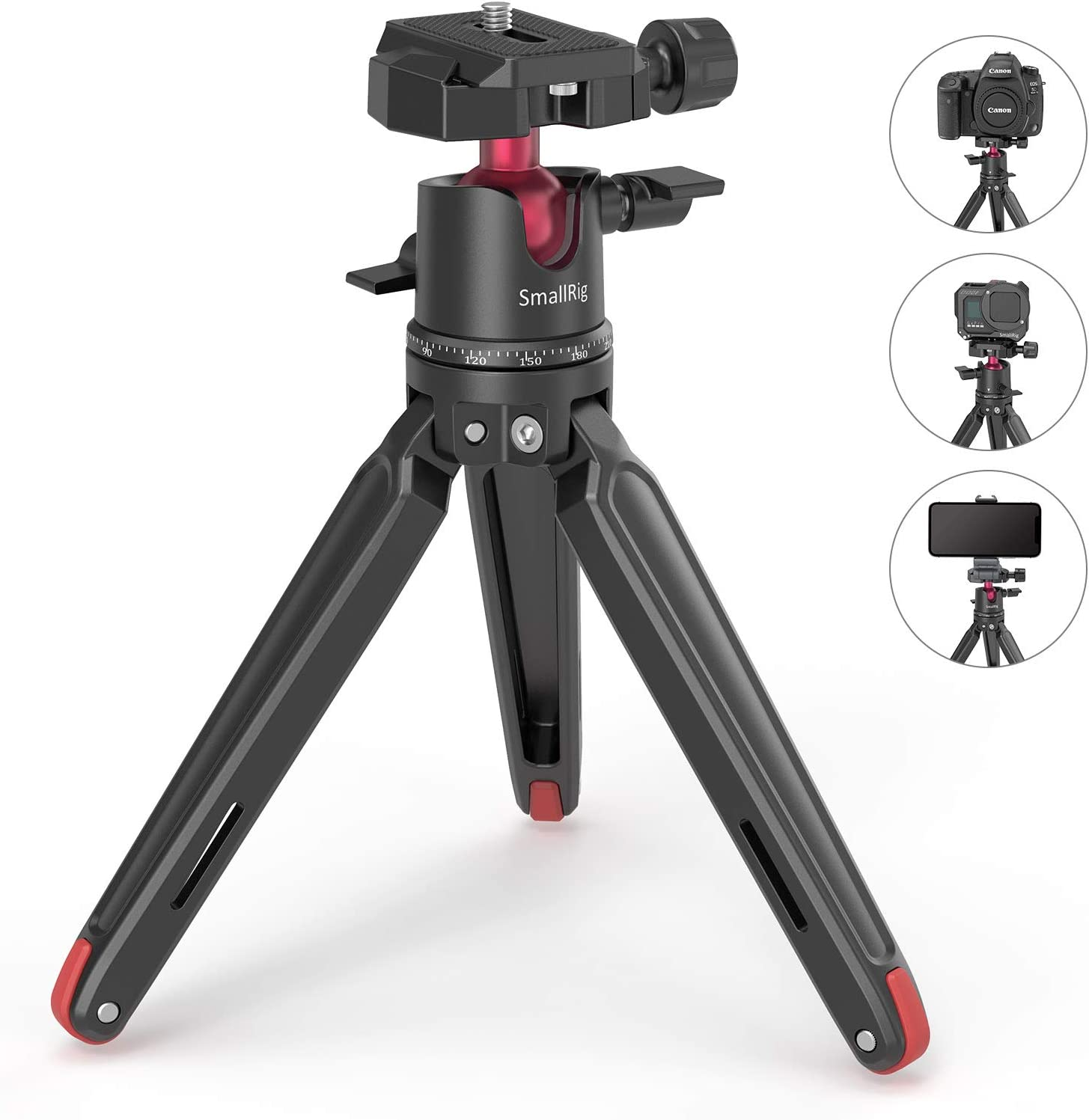 SMALLRIG Mini Tripod for Camera, Updated Desktop Tabletop Tripod with Arca-Type Compatible QR Plate, 360° Ball Head and 1/4 Screws Portable for Compact Cameras DSLRs, Phone, Gopro - BUT2664