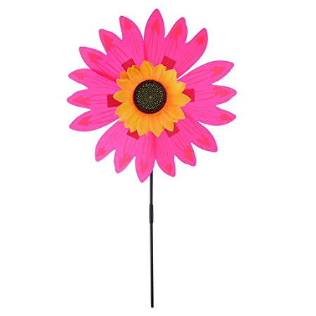 Albio Beautiful 36cm DIY Sunflower Windmill Wind Rotator Kid Outdoor Playground Toy Nursery Venue Decor Kits Rose Red