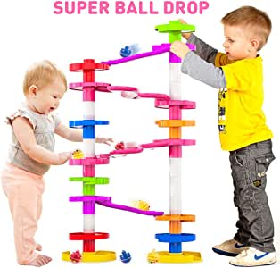 Super Ball Drop Toy, Extra Large Size Activity Tower with Ball Ramp Bridge for Educational and Fun Activity for Toddlers and Children of All Ages - Go, Play Stack and Roll