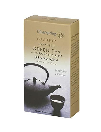 Clearspring bolsas de té genmaicha (20 bolsas) té verde ...