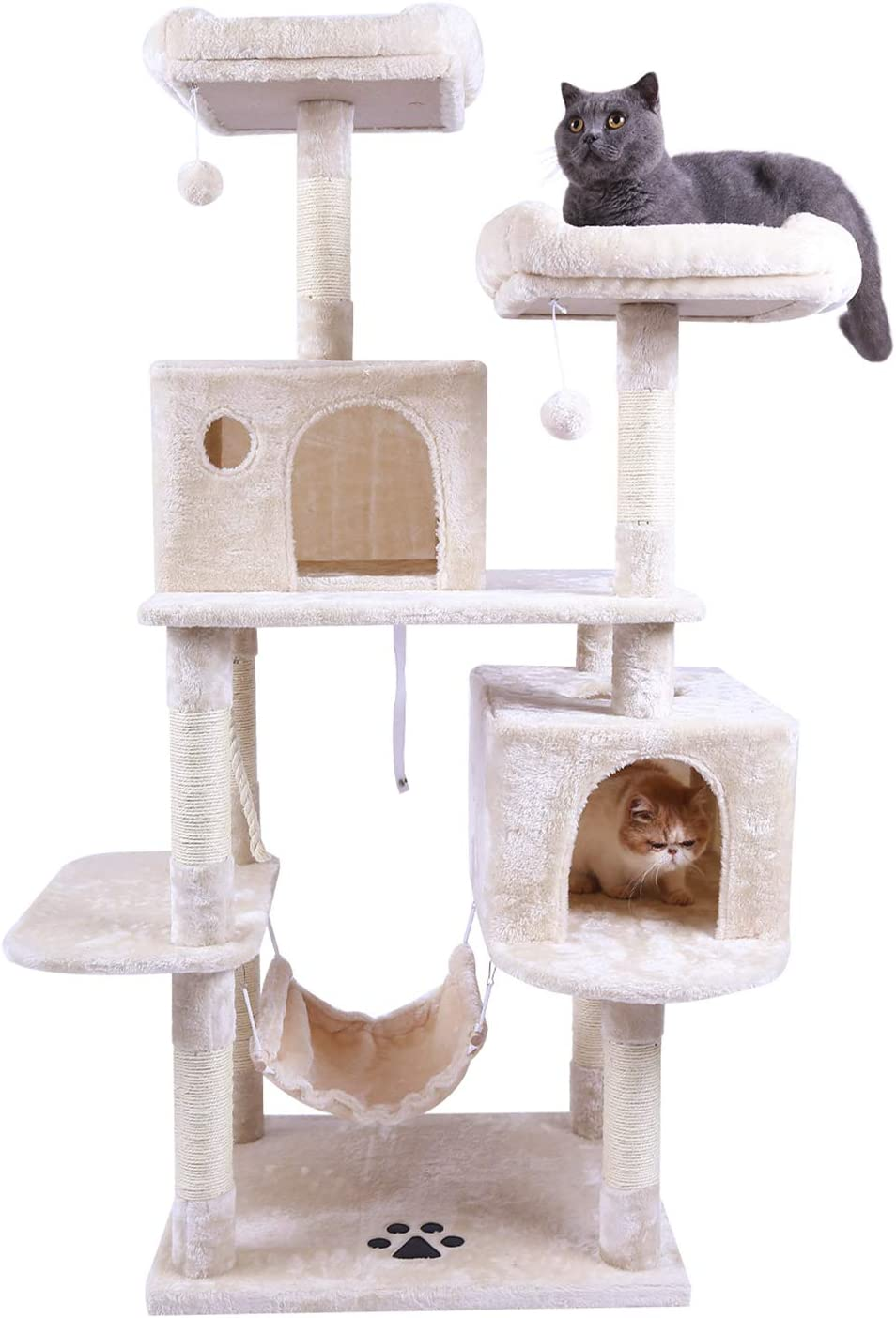 Hey-bro Extra Large Multi-Level Cat Tree Condo Furniture with Sisal-Covered Scratching Posts, 2 Bigger Plush Condos, Perch Hammock for Kittens, Cats and Pets
