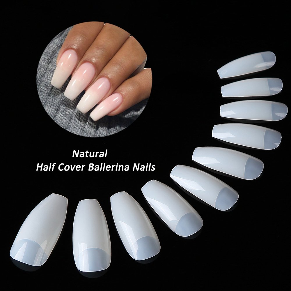 JoofEric 500pcs Coffin Nails Half Cover Ballerina Nail Tips Acrylic Press On False Nails 10 Sizes for Nail Art (Natural)