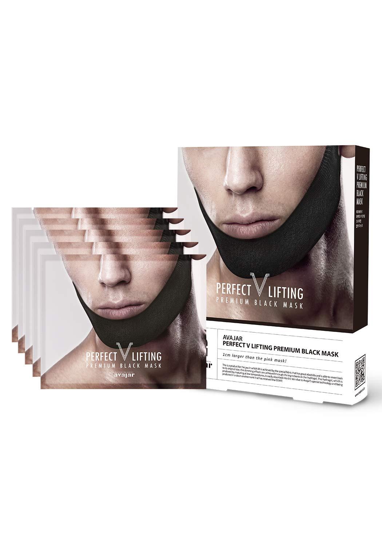 Avajar Perfect V Lifting Premium Man Black Mask 5pcs - V Line Mask | Face Lifting Mask | Face Slimmer | Chin Strap For Double Chin Remover | V Shaped Slimming Face Mask | Double Chin Mask