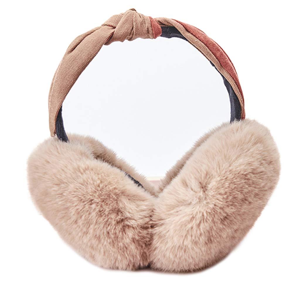 Grey Womens Winter Earmuffs Girls Foldable Ear Muffs Headbands Winter Warm Cute Ear Warmers Outdoor Earmuffs