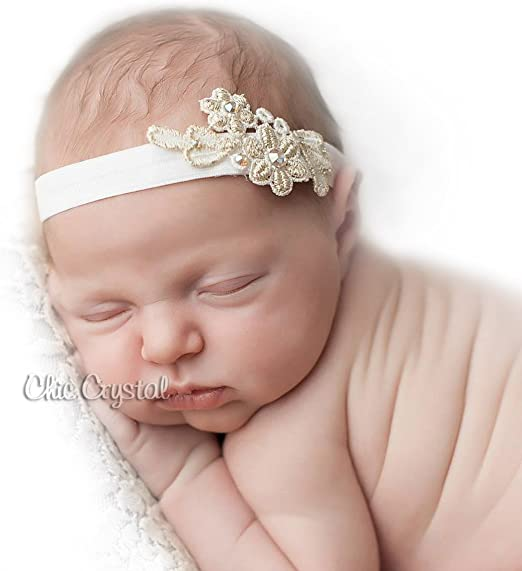 Ivory and Gold Flower Baby//Toddler// Girl Vintage Headband