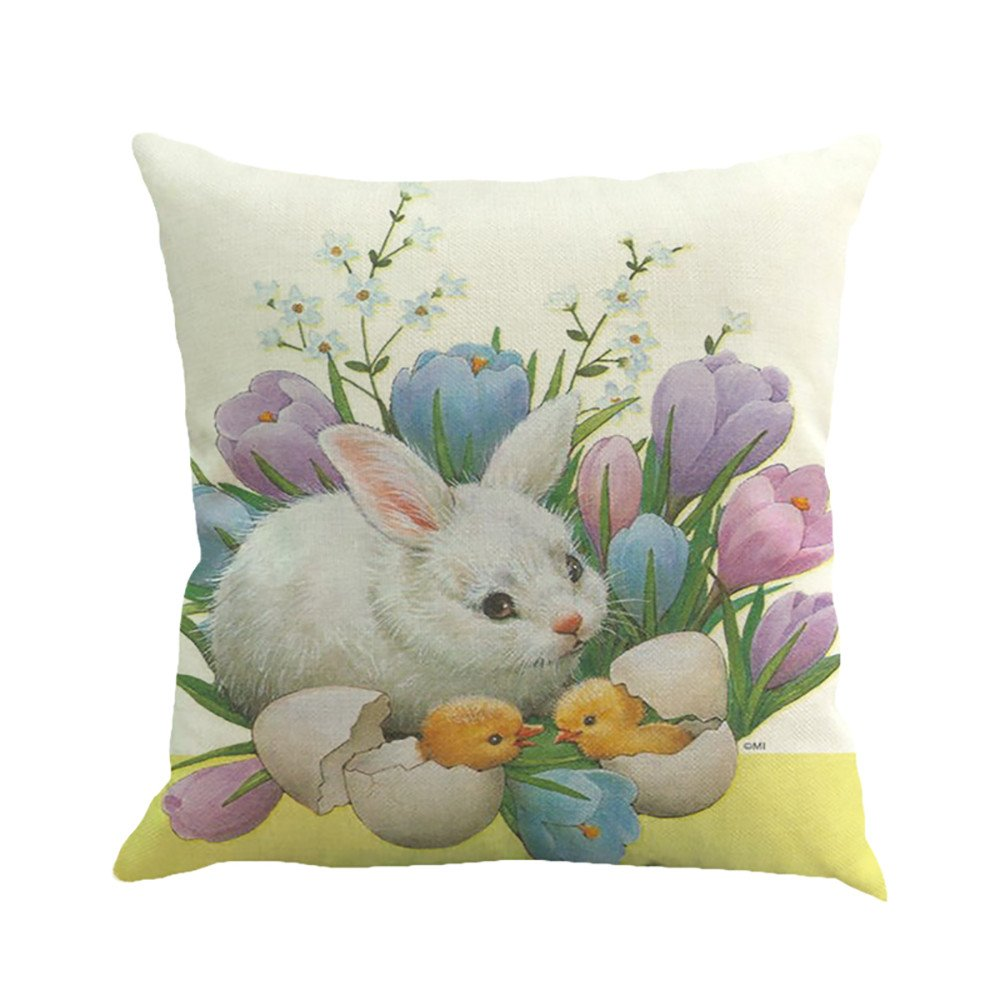 18x18 Easter Pillow Cases Cotton Linen Engrave Illustration Vintage Graphic Cushion Cover Home Decor Spring Rabbit Pillow Cases Decorative for Women Kids Girls Boys Couch Sofa Bedroom Living Room (I)