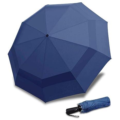 DORRISO Paraguas Plegable Automático Abrir/Cerrar Viajar Paraguas Dosel Doble Diseño y Resistente al Viento