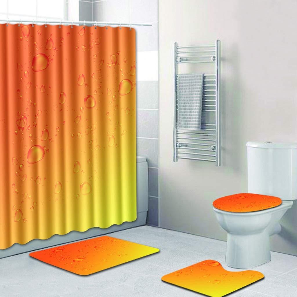 CYHY Wassertropfen 4-teiliges Badezimmer-Set, WC-Deckel Abdeckung Sockel WC Bad Rutschfeste Teppich Teppich und wasserdichter Duschvorhang mit 12 Haken (Farbe   1, Größe   19.7 x 31.5 ) B07QCCLZ3Q Duschmatten