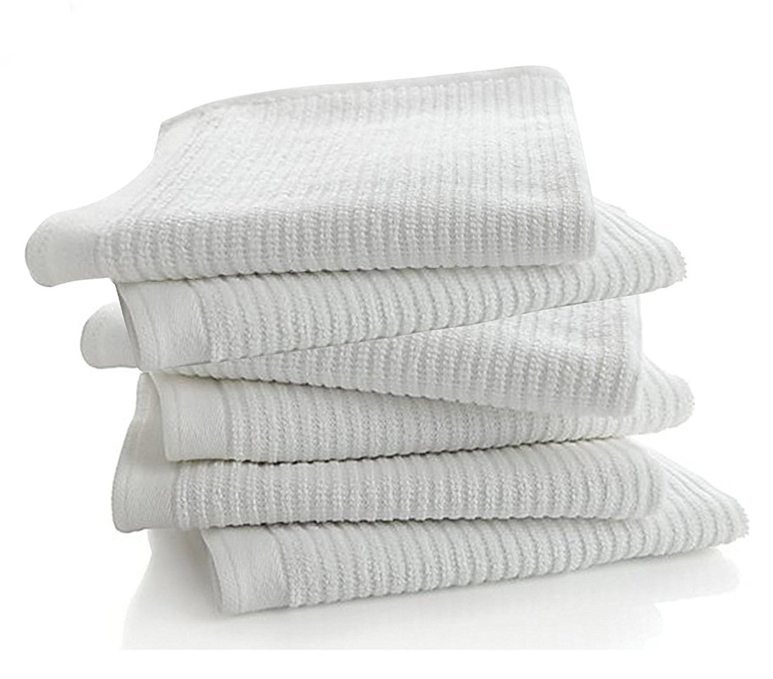 "Bar Mop Kitchen Bathroom Cleaning Towels, Set of 6, Size 16"" x 19"", First Quality, 100% Cotton, Brilliant White Color, Machine Washable"