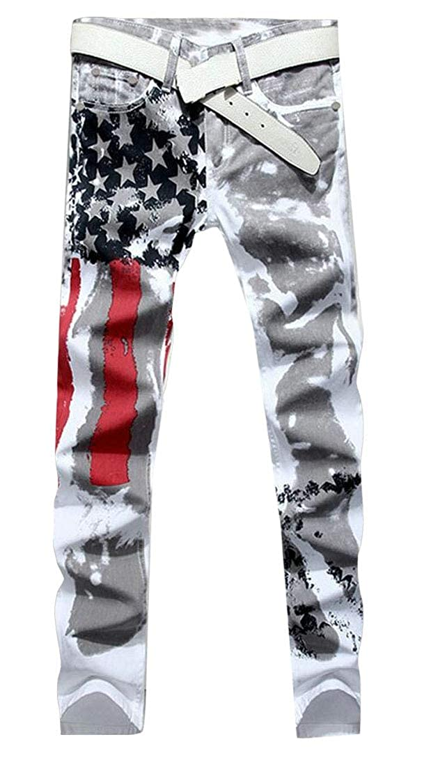 mydeshop Men Jeans American USA Flag Printed Washed Pants White Fit Trousers