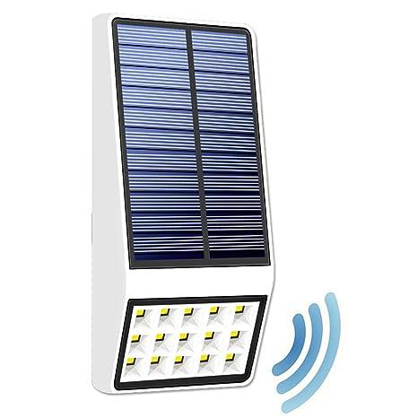 GAXmi Luces Solares Sensor de Movimiento de Microondas Luz de Seguridad 15 LED al Aire Libre