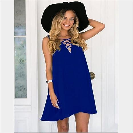 Women Dress Plus Size, Clearance! AgrinTol Women Summer Sleeveless Loose V-Neck Cross Chiffon Dress at Amazon Womens Clothing store: