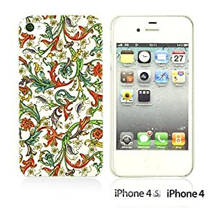 OnlineBestDigital - Fabric Pattern Hard Back Case for Apple iPhone 4S / Apple iPhone 4 - Colorful Floral Pattern