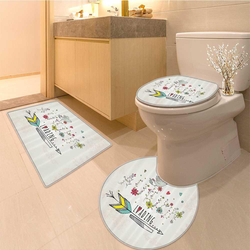 3 Piece large Contour Mat set Collection of Motivationa Success Positive Attitude themed Artwork Print Extralong M Bathroom Rugs Contour Mat Lid Toilet Cover