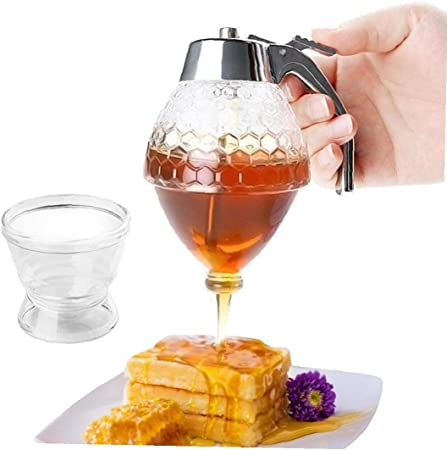 Honey Syrup Dispenser BESTGIFTJar Container Glass Pot Vintage No Drip Shatter Proof Acrylic Storage Pot 200ml