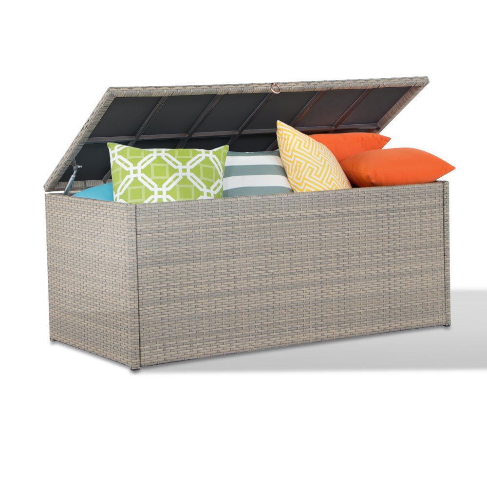 Outdoor Storage Container Wicker Deck Box Patio Garden Furniture with Waterproof Cover and Inner Bag, 152 Gal, Latte