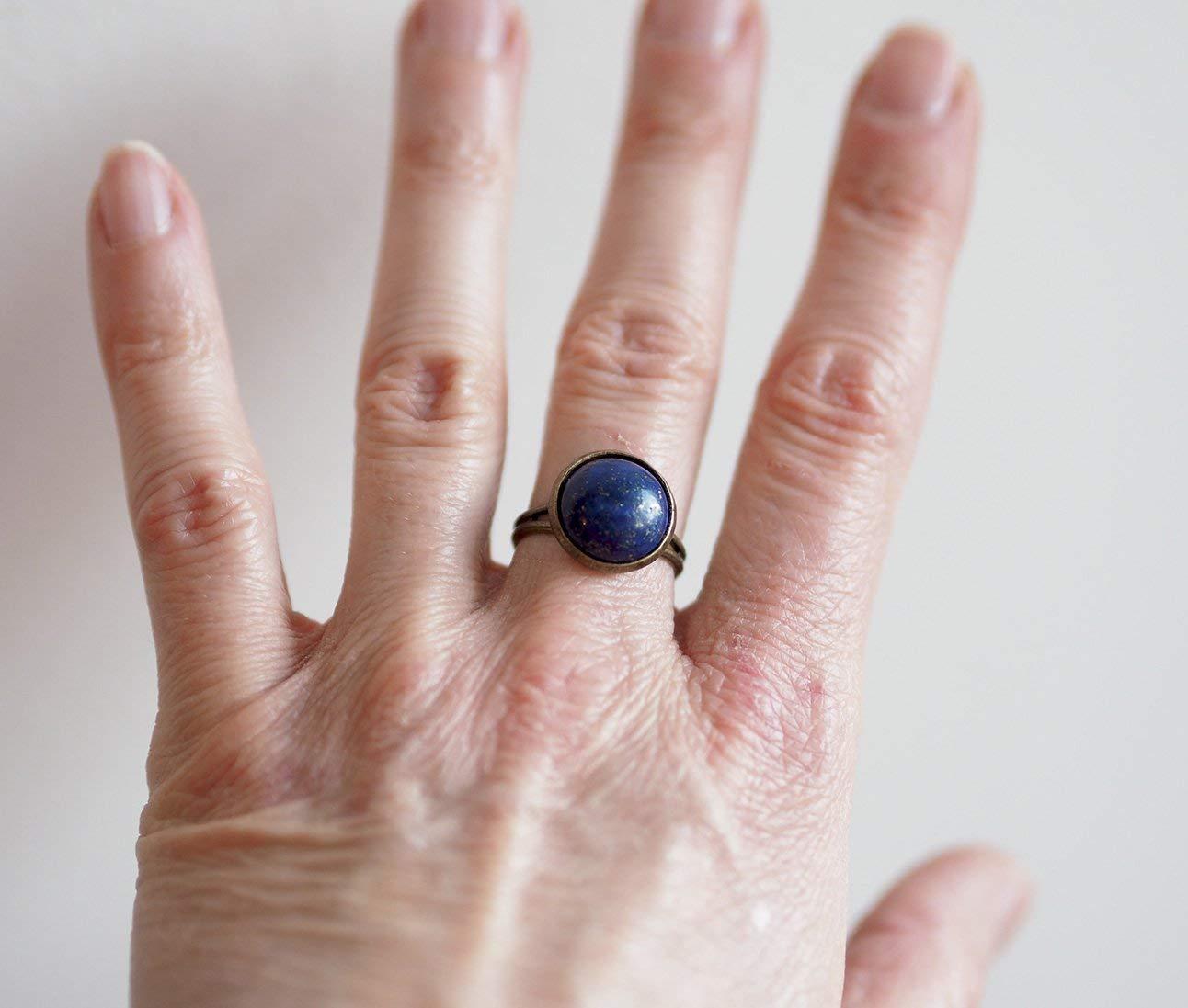 pierre Lapis Lazuli pierre bleu Bague Cabochon 12 mm