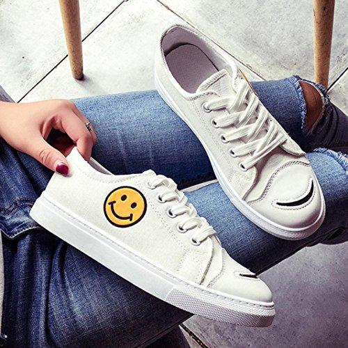 Scarpe Casual Donna Sikye, Smile Face Cross-strap Flat Heel Walking Fashion Canvas Bianco