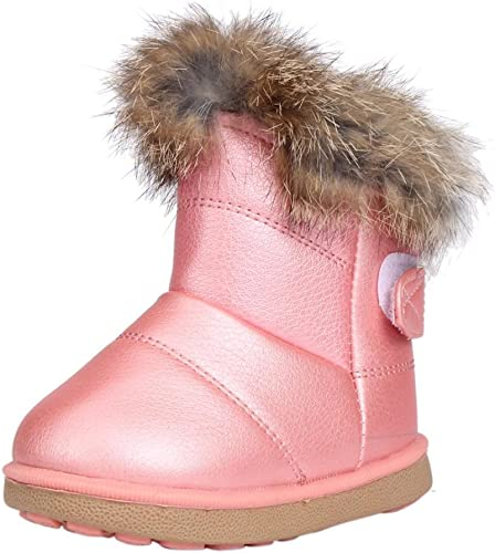 Red EU 35//3 M US Little Kid Girls Waterproof Bowknot Side Zipper Winter Boots Toddler//Little Kid//Big Kid