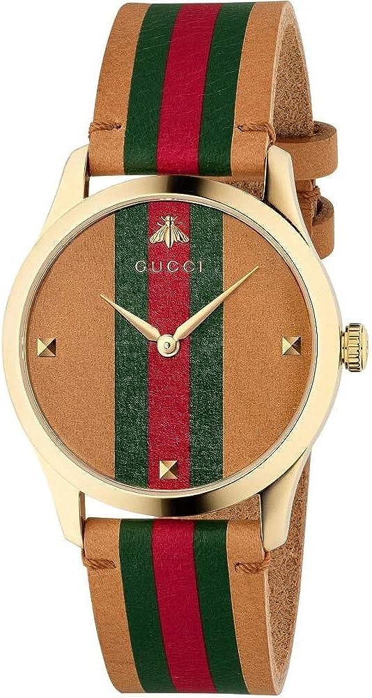 Gucci G-Timeless Tan Leather Strap Watch YA1264077