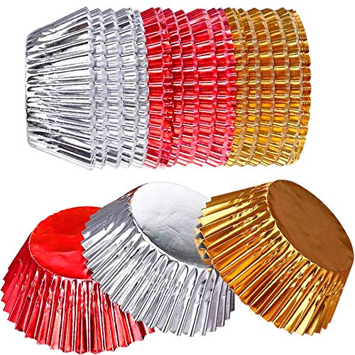 300 Ct Case - Onwon 300 Count Foil Metallic Cupcake Liners Muffin Paper Case Baking Cups Standard Sized Multicolor, Gold, Silver and Red