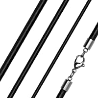 Lederkette Halskette Lederband Kette Echtleder Rindsleder Karabiner Edelstahl Kette für Anhänger