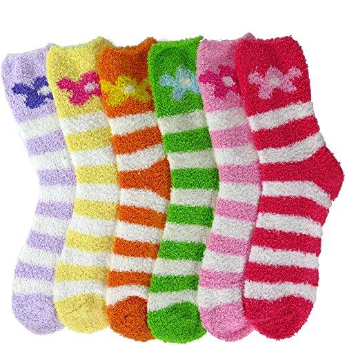 DEBRA WEITZNER Womens Bright Fuzzy Socks Non-skid Grip Ultra Soft 6 pairs, - Stripe Flower Socks