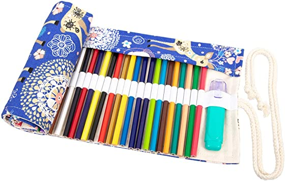 School and Office Pencils Pouch Case Hold for 48 Colored Pencils Travel Drawing Coloring Pencil Holder Roll Organizer for Artist No Pencils Included Everun Canvas 48 Holes Pencil Wrap