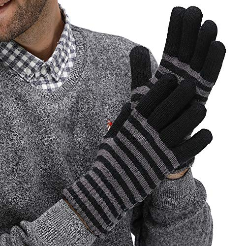 LETHMIK Thick Striped Knit Gloves,Mens&Womens Unique Knitted Warm Wool Lined Winter Gloves Black