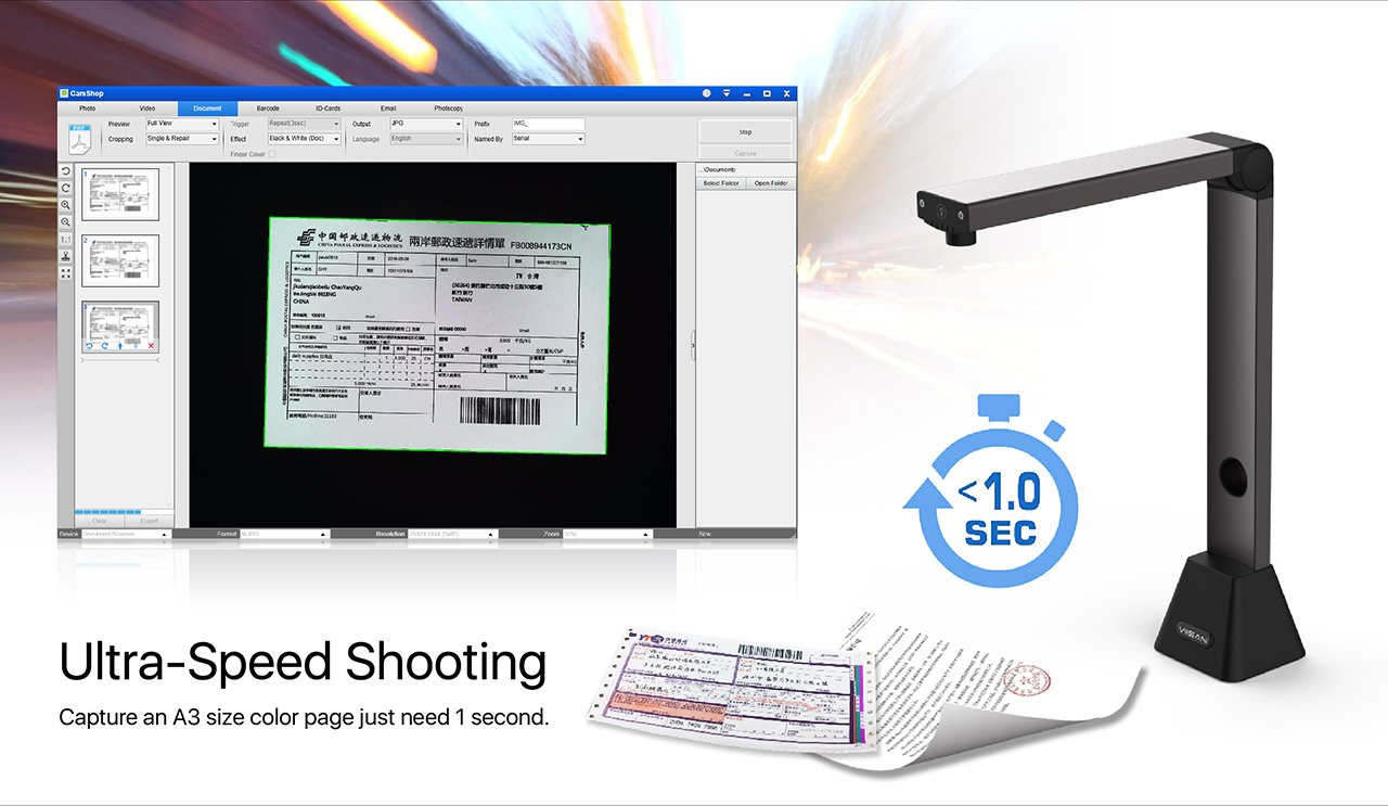 viisan vs8300/esc/áner de Documentos MAX Resoluci/ón 3264/x 2448 escaneado A3/ Plegable y port/átil 420/x 290/mm OCR