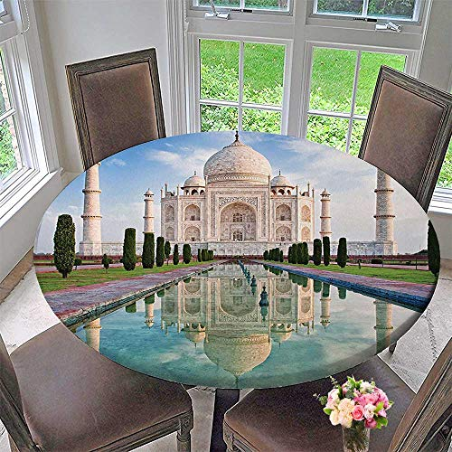 Mikihome Round Tablecloths Taj Mahal in Sunrise Light Agra India History Story Emperor or Everyday Dinner, Parties 43.5
