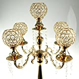 Homeford Firefly Imports Candelabra Crystal Globe Centerpiece, 5 Arm, Gold