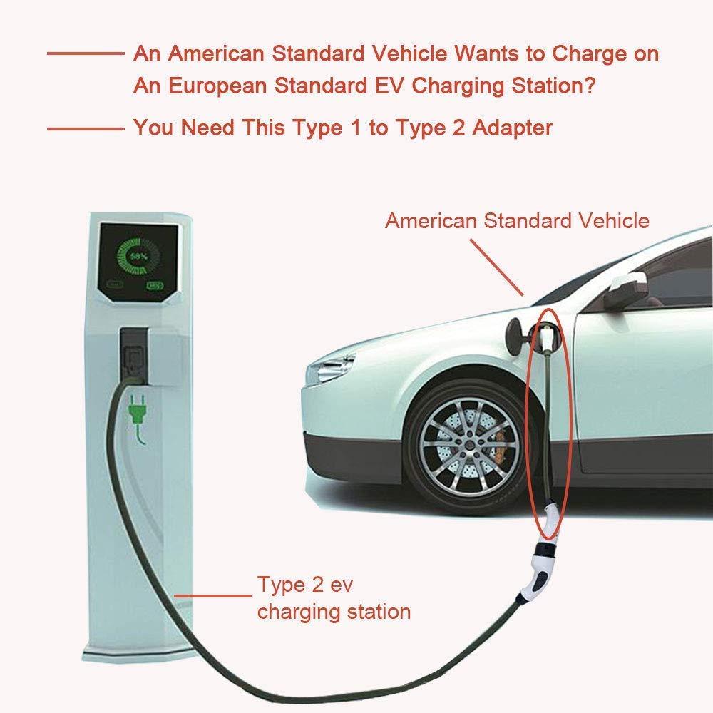 0.5M KHONS EV Cables Type/1 /à Type/2 16//32A EV/Chargeur/C/âble pour V/éhicule Electrique Am/éricain Connecte /à EV Charging Station Europ/éenne