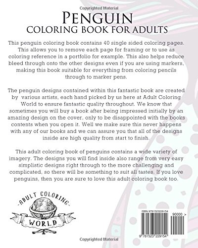 Amazon Com Penguin Coloring Book For Adults A Stress Relief Adult