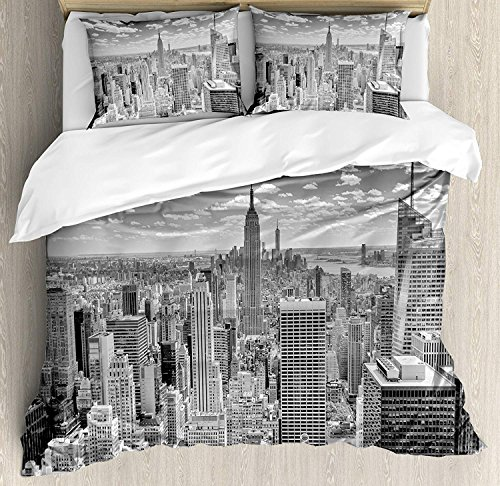 Polyester Cover Manhattan Duvet - New York 4 Piece Bedding Set Duvet Cover Set King Size, NYC Over Manhattan from Top of Skyscrapers Urban Global Culture Artful City Panorama, Luxury Bed Sheet for Childrens/Kids/Teens/Adults, Grey