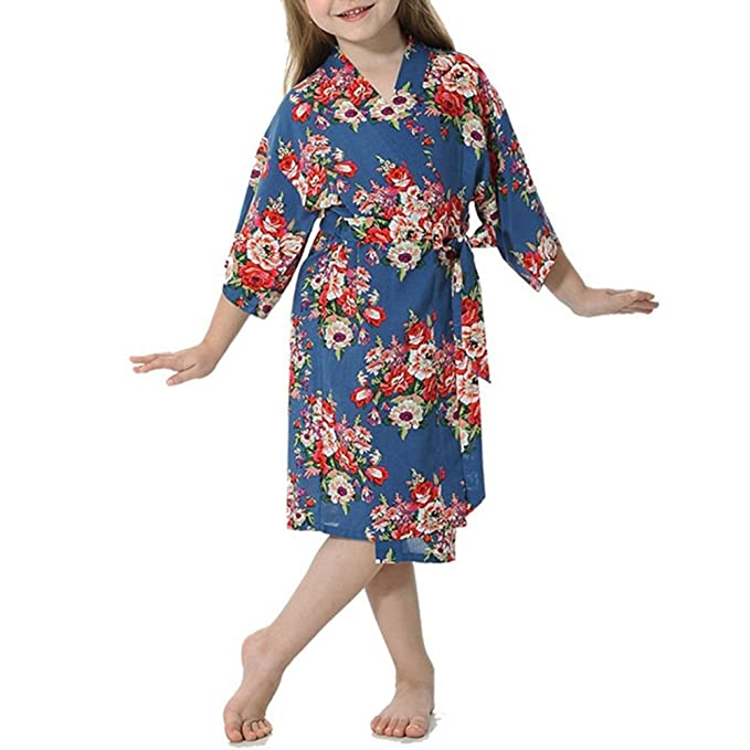 YOLIA Kids Girls Robes Floral Printed Comfy Cotton Kimono Nighties Dressing  Gowns  Amazon.co.uk  Clothing d7af69130