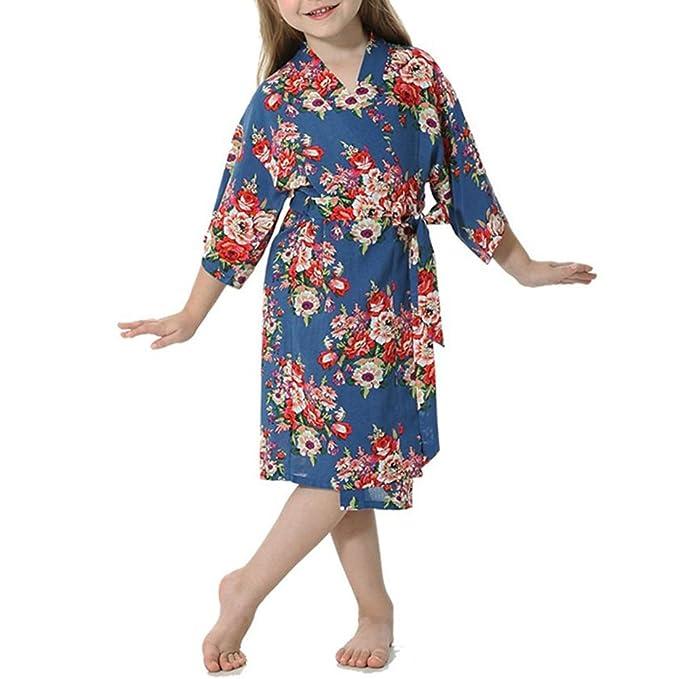 YOLIA Niños Niñas Batas Florales Impresos Cómodo Kimono de Algodón Camisones Batas: Amazon.es: Ropa y accesorios
