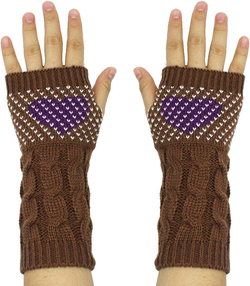 Women Cable Knit Fingerless...