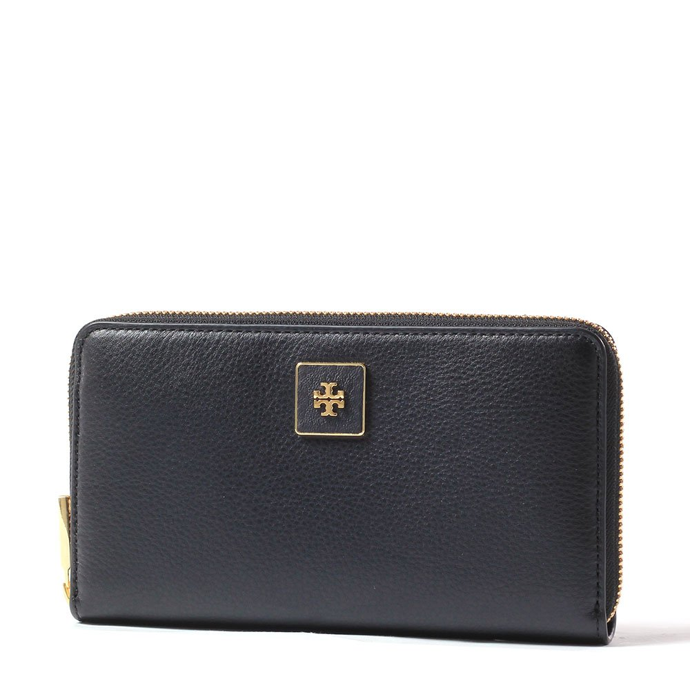 Tory Burch Clara Zip Pebbled Leather Continental Wallet Style No. 31417 (Black) by Tory Burch