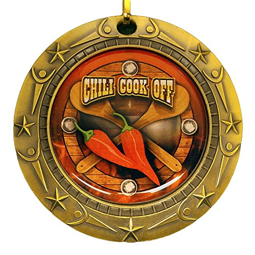 gold-chili-cook-off-world-class-medal-with-red-white-blue-v-neck-ribbon-chile-cook-off-gold