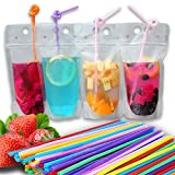 50-Pcs Disposable Drink Pouch Set! Disposable Drink Pouches with Straw and Reclosable Zipper Disposable Non-Toxic Food Grade Plastic drink pouches and 50 straws Review