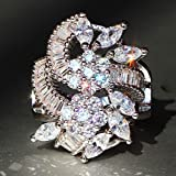 Luxurious Womens 925 Silver White Sapphire Ring Wedding Birthday Gifts Jewelry (6)