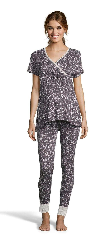 Graphite Lamaze Womens Maternity Short Sleeve Shirt and Skinny Leg Pajama Pants Sleep Set