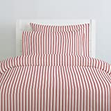 Carousel Designs Red Ticking Stripe Duvet Cover Twin Size - Organic 100% Cotton Duvet Cover - Made in the USA