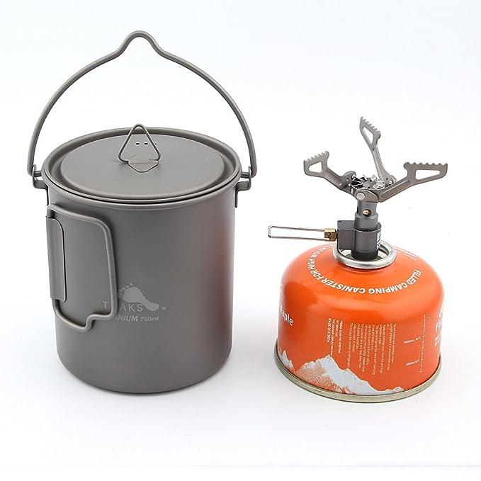 TOAKS 750 ml titanio olla y sólo 25 G BRS-3000T estufa Camping: Amazon.es: Deportes y aire libre