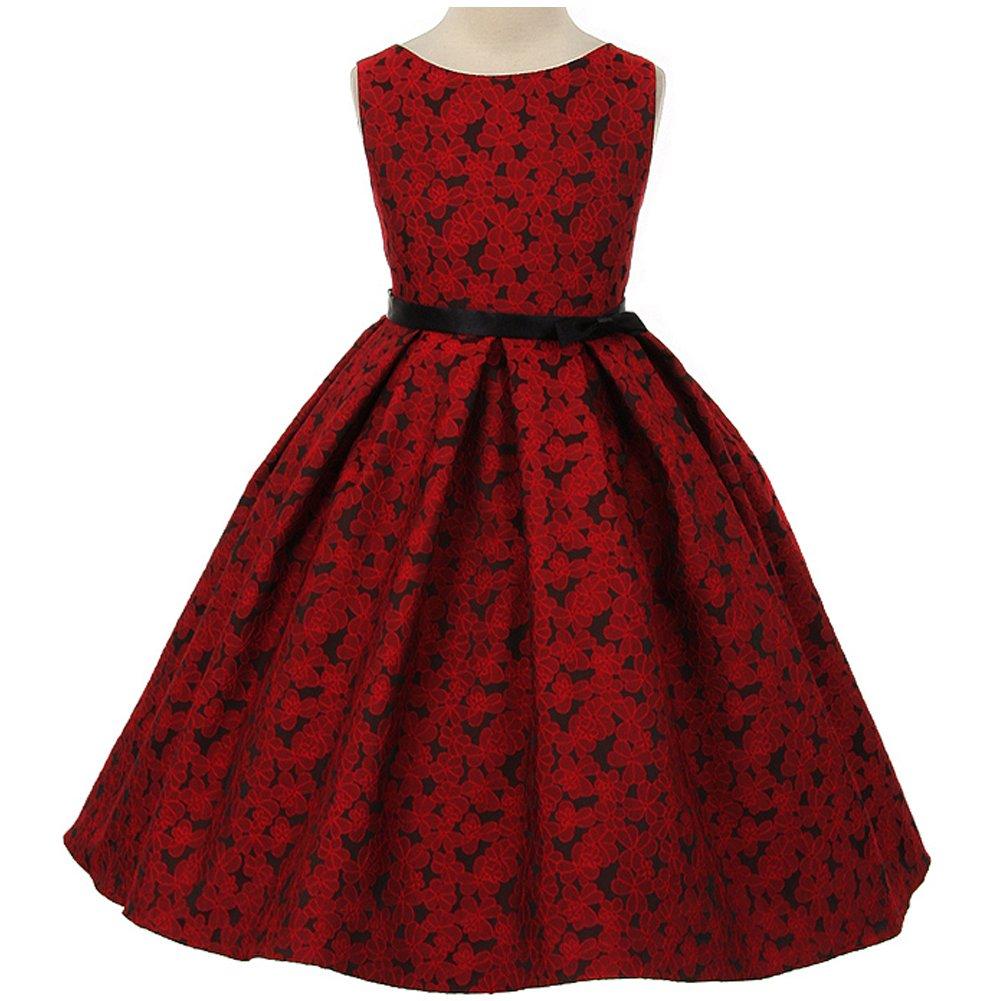 9149034ec0c Amazon.com  Beautiful Floral Jacquard Design Pleated Skirt Bridesmaid Party Girl  Dress  Clothing