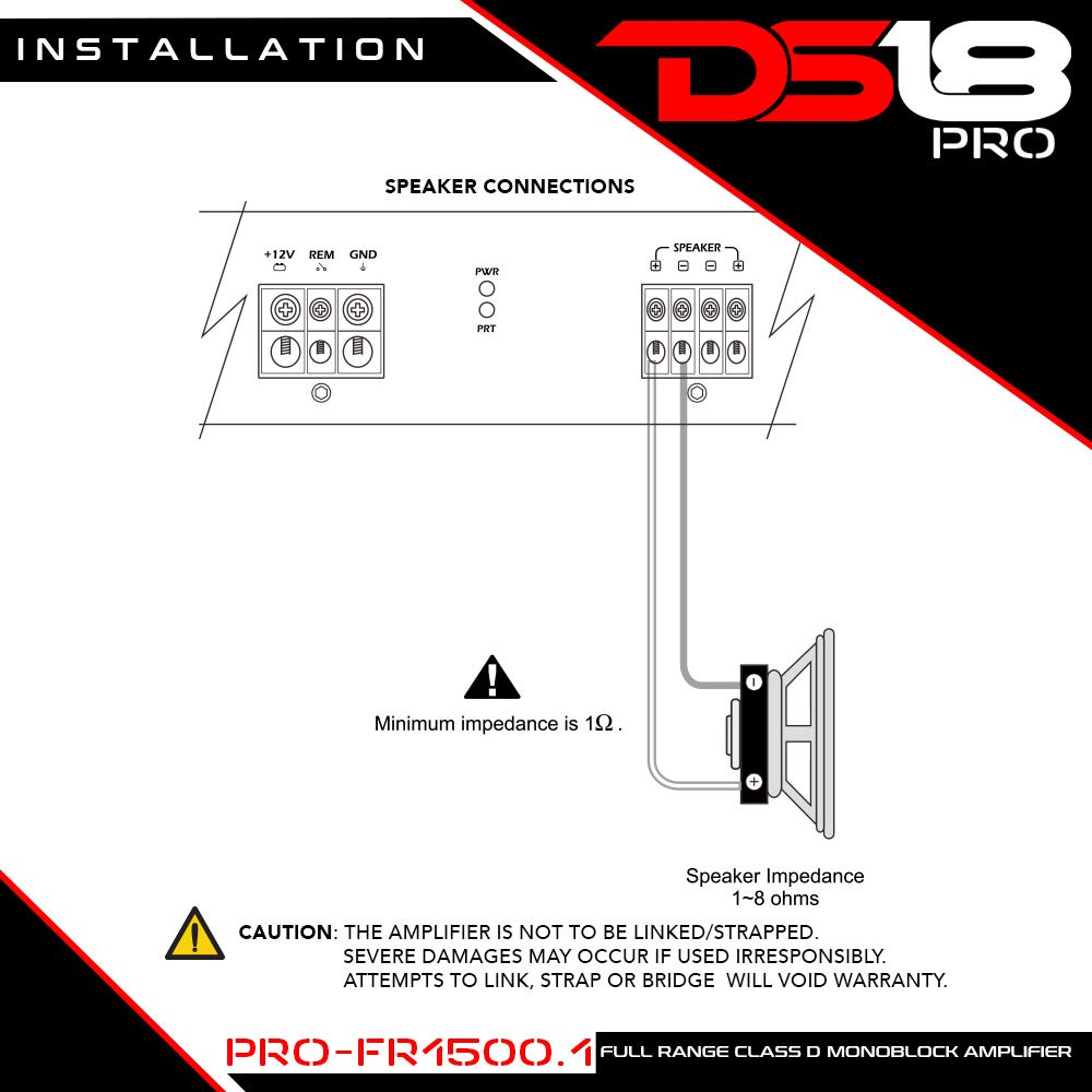 Ds18 Pro Fr15001 1500 Watts Rms Full Range Class D 197 Wiring Diagram Monoblock Amplifier Cell Phones Accessories