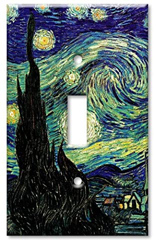 Art Plates - Single Gang Toggle OVERSIZE Switch Plate - Van Gogh: Starry Night - Oversize Light Switchplates