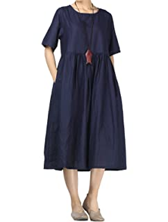 6309ea20e102 Mordenmiss Women s Cotton Linen Dress Summer Midi Dresses with Pockets