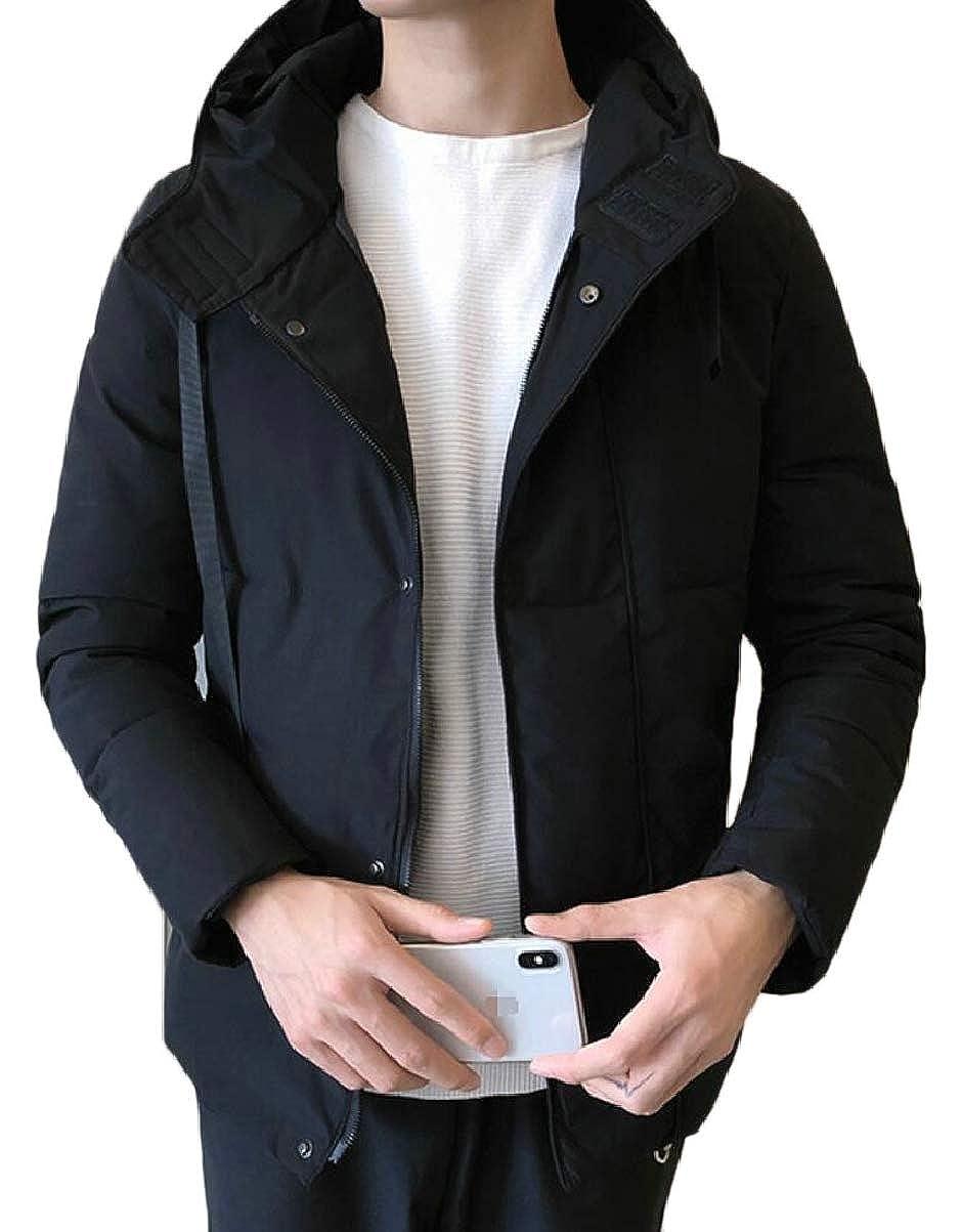 CBTLVSN Mens Thicken Solid Warm Hoodies Winter Padded Zip Down Jacket Coat